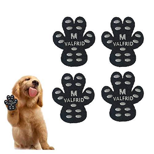VALFRID Hundepfote Hundepfotenschutz Robuste Anti-Rutsch-Traktionspads, 24 Stück Pfotengriffe für Hartholzböden, strapazierfähig rutschfest,Selbstklebende, Einweg-Hundeschuhe Sockenersatz M