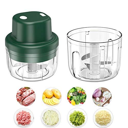 Elektrisch Zerkleinerer mit 2 Schüssel 150ml/300ml, 45W Mini Zwiebelschneider mit USB Gemüsezerkleinerer Knoblauchpresse Multizerkleinerer für Babynahrung Fleisch Knoblauch Obst mit 2 Stück Klingen