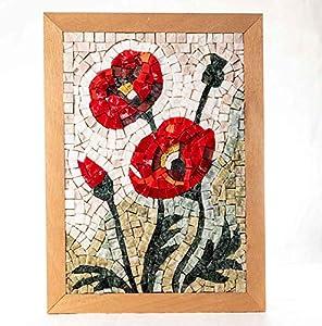 Amapolas Kit mosaico DIY 32X23 cm - Teselas para mosaicos de mármol italiano y de cristal de Murano - Idea regalo original - Cuadro hazlo tú mismo