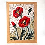Kit Mosaico Fiori di campo, Papaveri 32x23cm - Quadro fai da te hobby creativo - Tessere mosaico in marmo e Vetri di Murano - Idea regalo originale Natale/Compleanno/Anniversario