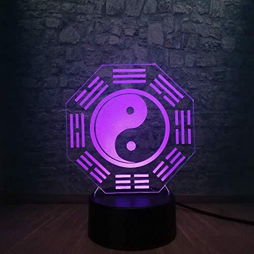 3D LED-nachtlampje voor kinderen 3D lamp Chinese stijl Bagua Otto Ciagrammi nachtlampje meerkleurig sfeer batterij decoratief