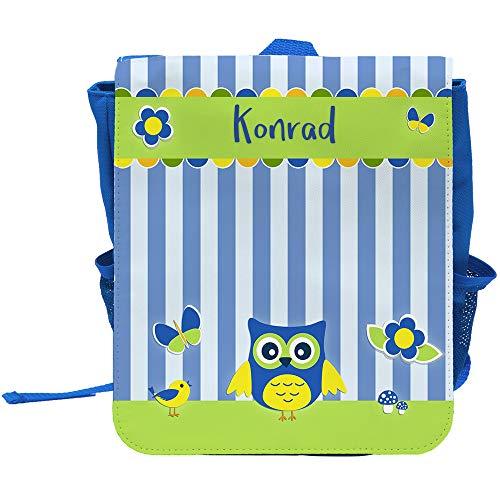 Kinder-Rucksack mit Namen Konrad und schönem Eulen-Motiv   Rucksack   Backpack
