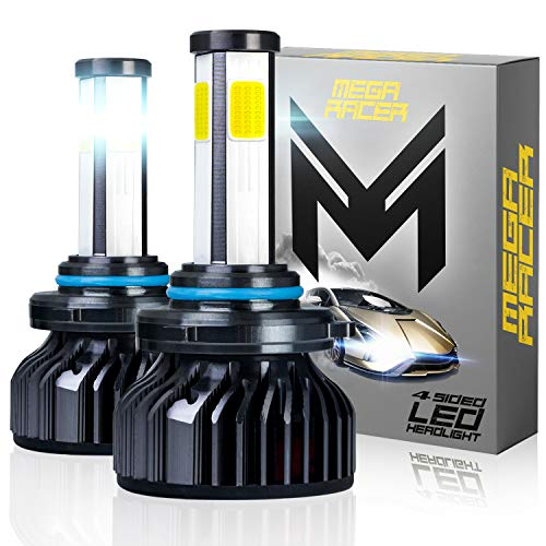 Mega Racer 4 Sided 9005/H10/HB3 LED Headlight Bulbs for High Beam/Low Beam/Fog Lights, 60W 6000K 10000 Lumens Super Bright White COB IP68 Waterproof, Pack of 2