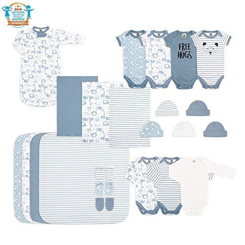 The Peanutshell Newborn Essentials Layette Gift Set for Baby Boys or Girls - blue - Small