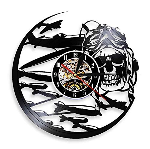 Iluminación LED Colorida Talla Hueca Disco de Vinilo Reloj de Pared Piloto Cráneo Aviador Esqueleto Avión Volador Jet Casco Gafas Cráneo 30 cm / 12 Pulgadas
