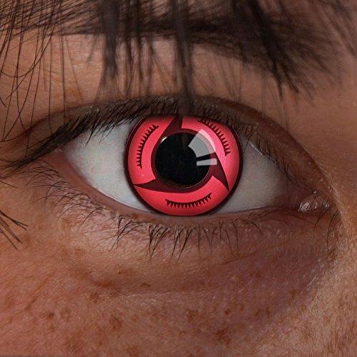 aricona Kontaktlinsen - Sharingan Kontaktlinsen Sharingan Crimson - Farbige Kontaktlinsen ohne Stärke für Cosplay, Karneval, Fasching, Motto-Partys und Halloween Kostüme, 2 Stück