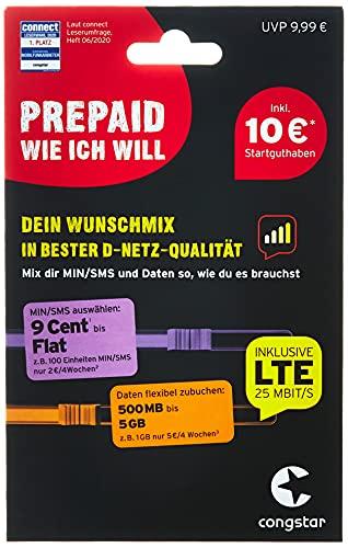 congstar Prepaid wie ich will [SIM, Micro-SIM und Nano-SIM] - Ihr Wunschmix in bester D-Netz Qualität inkl. 10 EUR Startguthaben....