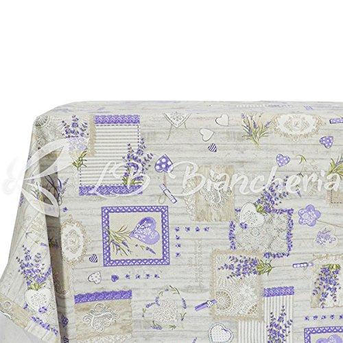Mantel para mesa de cocina/comedor estilo provenzal con flores de lavanda, íntegramente fabricado en Italia, 100% algodón,140x 180cm (rectangular, para 6personas)