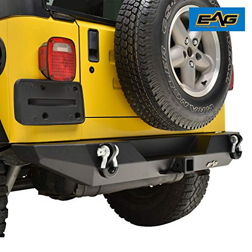 EAG Rear Bumper with D-Ring and Hitch Receiver Fit for 87-06 Wrangler YJ TJ