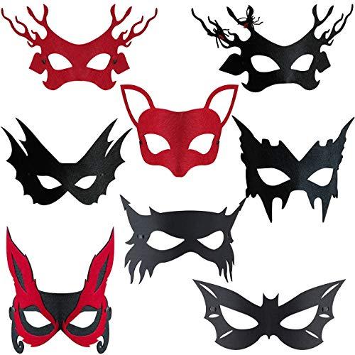 WENTS Halloween Masken 8 Stück Masquerade Maske Kinder Cosplay Masken Cosplay Party Masken Geburtstag Augen Masken passen für für Oster Geschenke Dress Up Party Supplies für Kinder Geschenke