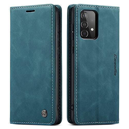 Laf&a Kompatibel mit Samsung Galaxy A52/A52s 4G Handyhülle klappbar Hülle Premium Lederhülle Tasche Flip Hülle Brieftasche Klapphülle Retro Matte Schutzhülle für Samsung A52/A52s 5G Blau