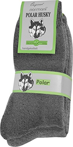 Polar Husky® 2 Paar EXTREM Wintersocken mit sehr hohem TOG Wert 2,34 Farbe Grau Größe 43/46
