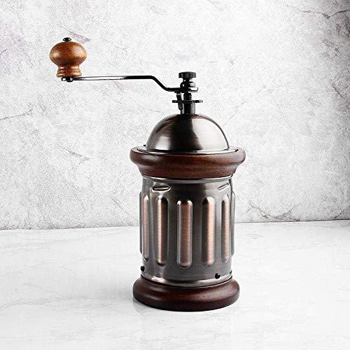 WCJ Vintage handmatige koffiemolen, gietijzeren stalen kern, massief houten handvat, roestvrij staal, eenvoudig te reinigen voor familie/reizen en kamperen