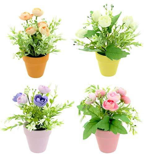 4 Stück Set künstliche Blumen-Arrangements mit Rosen im farbigen Topf, farbenfrohe Tisch-Dekoration, 21 cm hoch