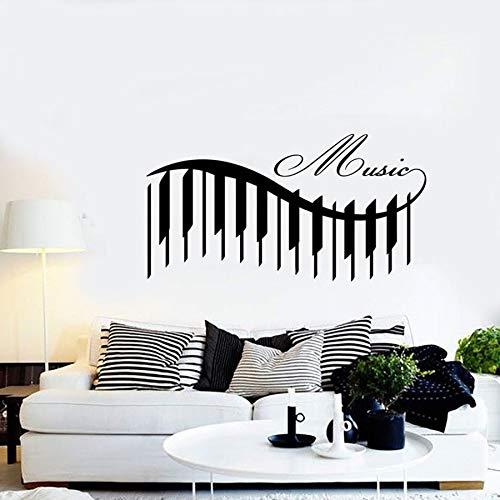 Tianpengyuanshuai Klavier Wandtattoo Musik schönes Lied Wandbild eleganten Stil Schlafzimmer Wohnzimmer Konzert Vinyl Dekoration 57x30cm