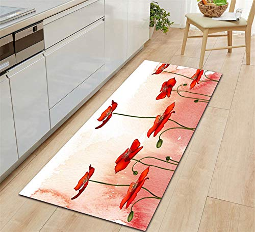 ROMDEANK Tappeto Cucina passatoia Fiori rosa Tappeto a Motivi 3D Tappeto Home Area Tappeto per Soggiorno Camera da letto corridoio Cucina Entrata bagno Tappeto40CM X 60CM
