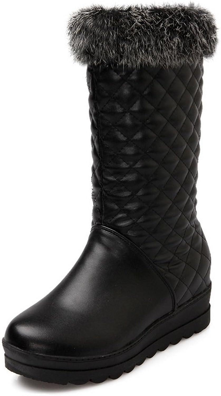 Ladola Ladies Fur Collar Platform Heighten Inside Soft Material Boots