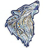 Wooden Jigsaw Puzzles Howling Wolf, Unique Animal Shaped Wolf Wooden Jigsaw Puzzles for Adults and Kids Challenging Family Puzzles (M-33x21cm, 202 Pcs)