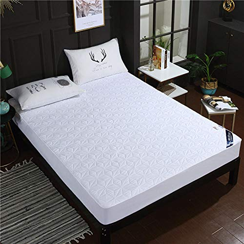lhmlyl Mattress Protectorthickened Solid Color Quilted Waterproof Bed Sheet Single Piece Breathable And Washable Surrounded By Cotton Protective Cover-White_180*200