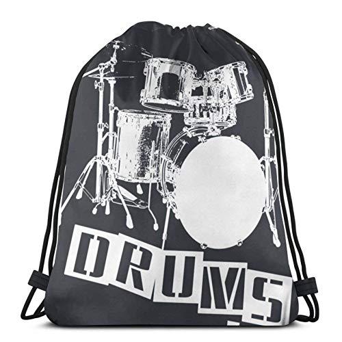 LREFON Mochila Saco Sudadera Cerrada Label Me A Drum Set (Letras Blancas) Logo-Mochila Saco-Negro