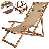 Liegestuhl Deckchair Akazienholz Klappbar Atmungsaktiv Sonnenliege Strandstuhl Gartenliege Relaxliege Beige