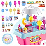 LAANCOO 1 Juego de Helado y Caramelo Carretilla Juguetes comestibles Compras Juego de imaginación Set de Regalo de Toys Comida Carro para Niños Color al Azar