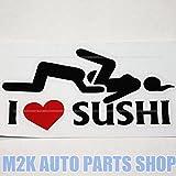 ヘラフラ スタンス I love sushi ステッカー 1枚 パロディ ドリフト スシ ステッカー トラック JDM usdm 走り屋 環状 ブラック