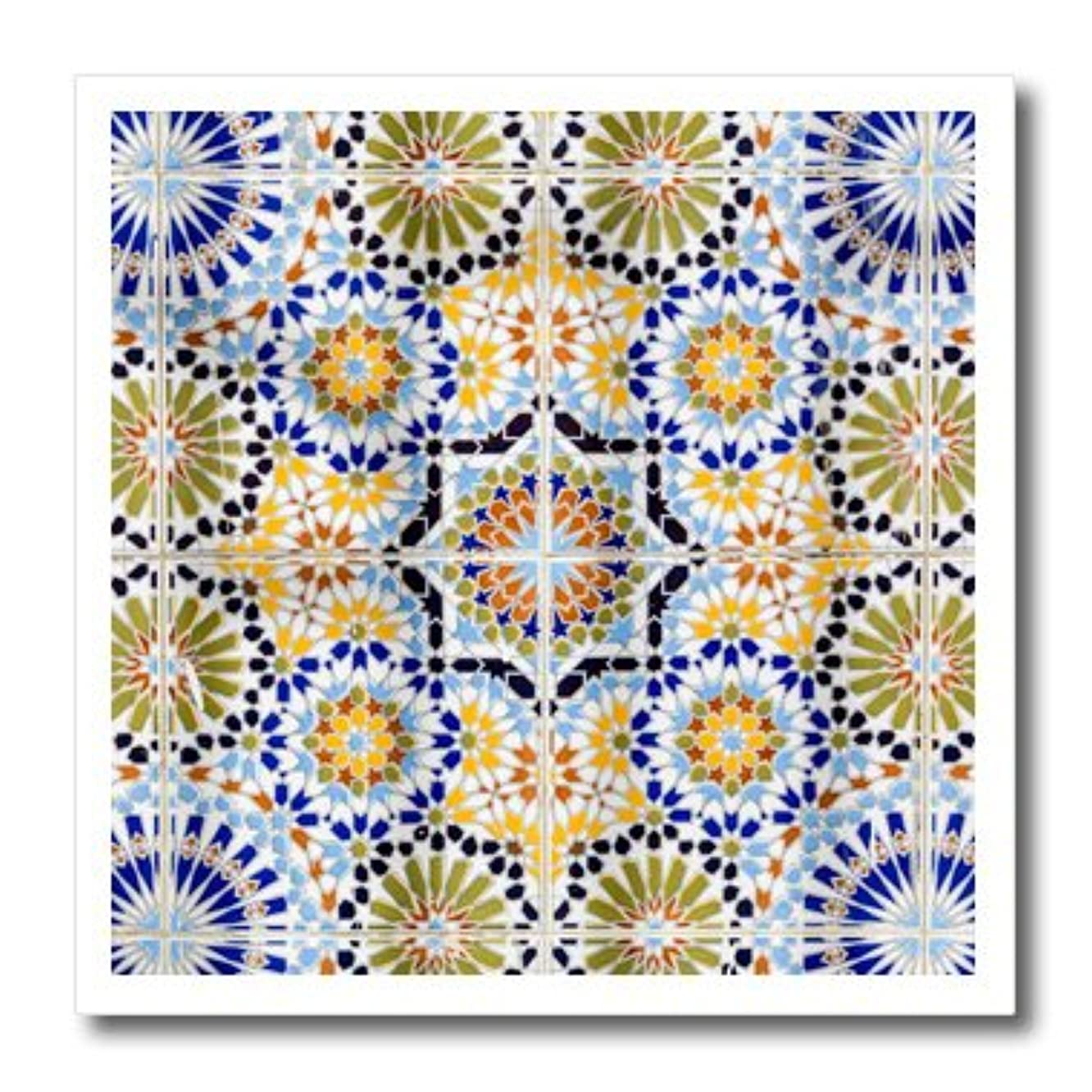3dRose ht_207528_1 Senegal, Saint-Louis or Ndar. Moroccan Tiles Used in The Grande Mosque - Iron on Heat Transfer, 8 by 8