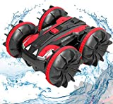 Remote Control Car Boat Truck- Amphibious 4WD Stunt Cars 2.4Ghz Rotating 360° Offroad All Terrain RC Vehicle Water Land Monster Truck for Kids 3 4 5 6 7 8 Years Old