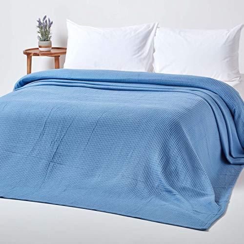 Homescapes Tagesdecke, Bettüberwurf aus 100% Bio-Baumwolle, blau, Piqué-Waffeldecke 180 x 230 cm