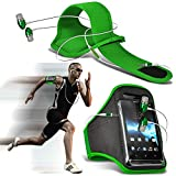 N4U Online ® HTC Desire 620 g dual sim Stilvolle Schutzeinbau Schwimmflügel Sport Laufen Jogging Ridding Bike Cycling Gym Arm Gürtel Tasche mit in-Ear Stereo Kopfhörer/Headset mit integriertem Mikrofon & An-Aus-Schalter), Grün