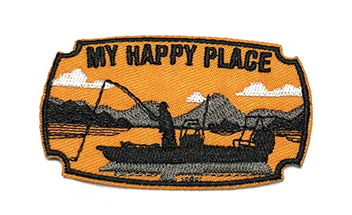 My Happy Place Fishing Boat 3' Embroidered Patch DIY Iron or Sew-on Decorative Vacation Travel Souvenir Applique Wander Wildlife Hike Trek Camping Explore Nature Mountain Bear Wolf Scout Guide Park