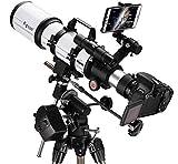 Hesolo National Geographic Telescope, 80 mm Apertura 600 mm Montaje AZ Refracción astronómica, Óptica Multicapa Durable, Telescopio portátil de Viaje con trípode y Visor buscador