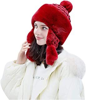 iNoDoZ Women's Keep Warm Winter Casual Wool Knitted Hat Ear Muffs Hemming Hat Thicken Ski Hat