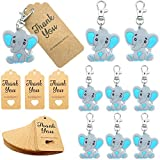 20 Pack Baby Shower Return Gifts for Guests, Blue Baby Elephant Keychains + Thank You Kraft Tags for Elephant Theme Party Favors, Baby Shower Favors, Boys Birthday Party Supplies
