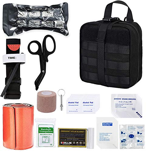GRULLIN IFAK Trauma First Aid Kit, Tactical Molle Military Emergency Bleeding Control Set for Vehicle Truck Car Adventure Camping Shooting (Black)
