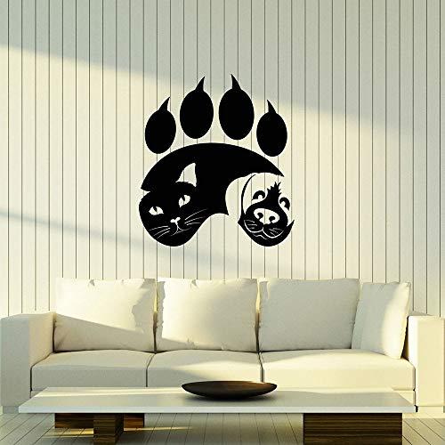 WERWN Calcomanía de Pared con Huella de Pata de Animal, Vinilo Creativo, Pegatina para Ventana, Gato, Perro, Tienda de Mascotas, Logotipo de la clínica Veterinaria, Mural de Arte Decorativo Interior