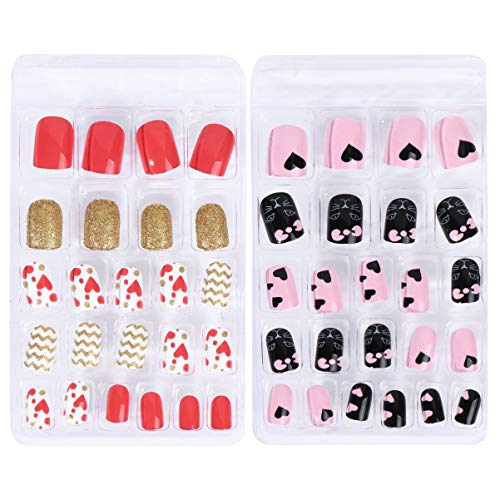 FRCOLOR 48Pcs Children Stick on Nails Kids False Nails Press on Full Cover Nails Tips Cartoon Short False Nail Kits for Girls Gifts
