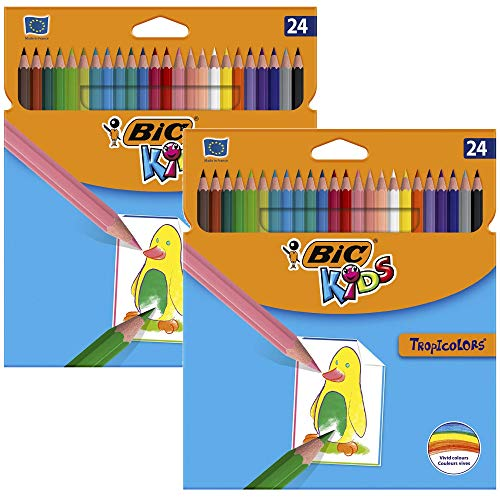 BIC Kids Tropicolors, Buntstifte Set mit 24 Stiften im Kartonetui (2x 24er Kartonetui)