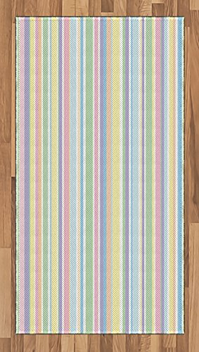 Ambesonne Pastel Area Rug, Vertically Striped Pattern Different Colored Straight Lines Classical Old Fashioned, Flat Woven Accent Rug for Living Room Bedroom Dining Room, 2.6' x 5', Multicolor