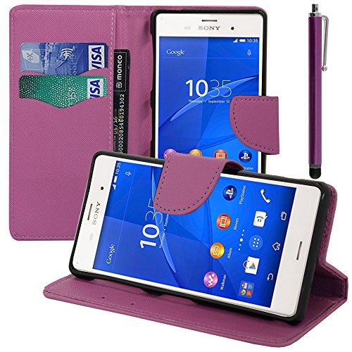 AnnaRT - Funda tipo libro con tapa y función atril integrado para Sony Xperia Z3 Dual D6603 D6643 (incluye lápiz capacitivo), color morado