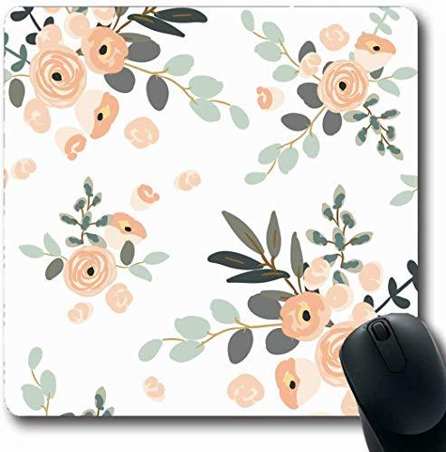 Büro Mausmatte,Spiel Mauspad,Mousepads Für Computer,Matte Mit Genähten Kanten,Muster Strand Erröten Rosa Blumensträuße Auf Frühling Hochzeit Design Sketch Gaming Mouse Pad