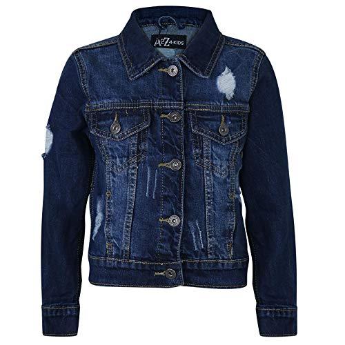 A2Z 4 Kids Bambini Ragazzi Denim Giacche Progettista Ripped - Boys Denim Jacket JK14 Dark Blue 9-10