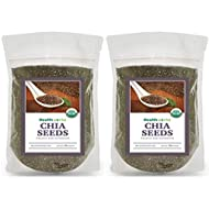 Healthworks Chia Seeds Organic Raw (32 Ounces / 2 Pounds) (2 x 1 Pound Bags) | Certified Organic, Premium and All-Natural | Contains Omega 3, Fiber and Protein | Great with Shakes, Smoothies, Oatmeal