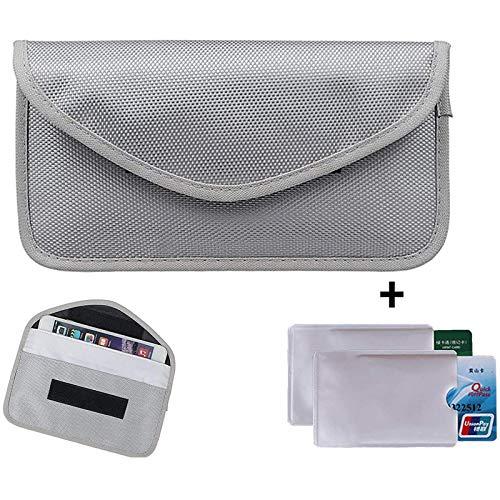 Newseego RFID Signal Blocker Pouch | 2X Free RFID Credit Card Sleeves | Anti Theft Faraday Bag for Car Key Fob & Cell Phone Blocking Pocket, Security Keyless Case, Anti-Hacking Secure Antitheft(Grey)