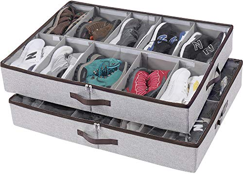 tall shoe storages HOONEX Under Bed Shoe Storage Organizer with Adjustable Dividers, Shoe Holder with Leather Handles, 2 Pack, Store 24 Pairs in Total, Grey
