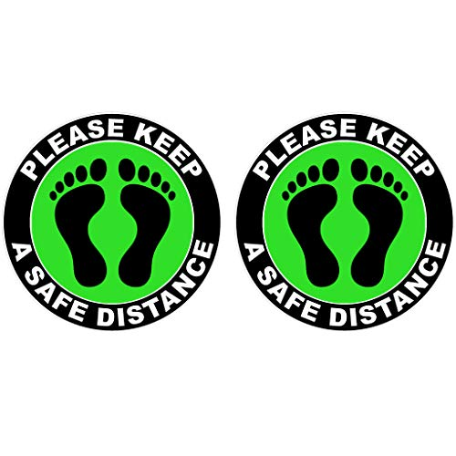 charmsamx 6 Ft Safety Distance Marker, Please Keep A Safety Distance Decal, Public Safety Notice Foot Print Vinyl Floor Stickers for Store, Market, Bank, Hostipal, Crowd Control Guidance 1 Pcs Green