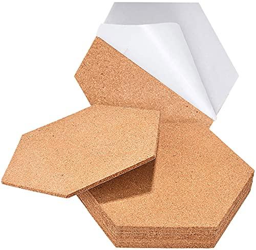 Láminas Corcho Pared. 10 Unidades Hexagonal 300mm autoadhesivo. Planchas para pared suelo decoracion aislante termico acustico manualidades bricolaje corchera (Grosor 5mm)