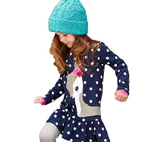 OVERDOSE Kleinkind Baby Mädchen Kinder Herbst Kleidung Langarm Weihnachten Blume Deer Tops T-Shirt Mini Kleid(8T,Blau)
