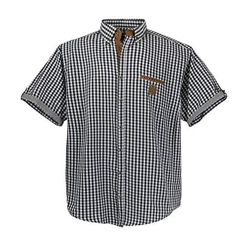 Lavecchia 1129 kariert (kleine Karos)bergröße Herren kurzarm Hemd, 4XL, Schwarz-weiß